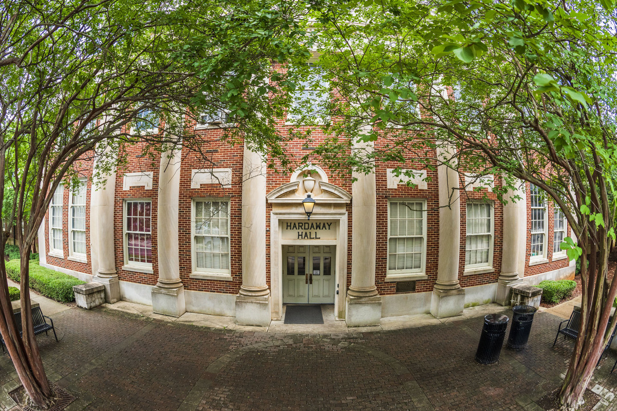 Front of Hardaway Hall with trees